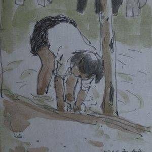 15.Vũ Ba, ký họa em Tuyết bắt cá, bút sắt đệm mầu nước, 18×13, 1968
