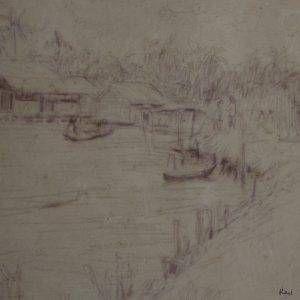19.Vũ Ba, ký họa rạch Cái nước, mầu nước, 17×27