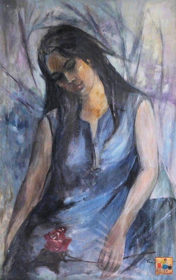 2. Trương Thị Thịnh, Thiếu nữ, sơn dầu, 96×61 cm,
