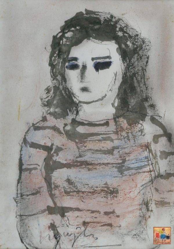 23.Chân dung(Cô gái mặc áo len). Bàng Sĩ Nguyên. 38×27, tổng hợp (2)