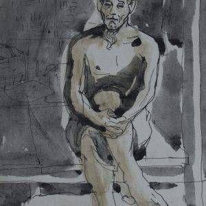 23.Vũ Ba, ký họa, bút sắt đệm mầu nước, 18×13, 1969
