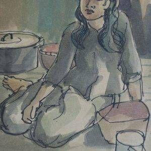 24.Vũ Ba, ký họa, bút sắt đệm mầu nước, 18×14, 1967