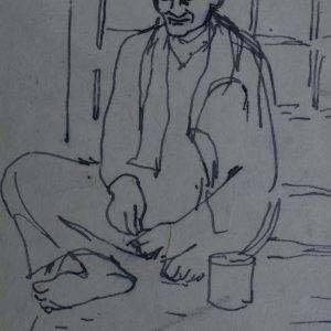 27.Vũ Ba, ký họa, bút sắt, 14×10