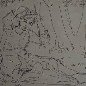 29.Vũ Ba, ký họa, bút sắt, 17×23, 1969