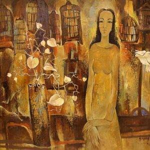 3.Văn Y, những chiếc lồng chim, sơn dầu, 100×130, 2015
