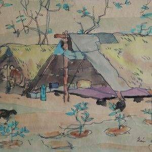 PC 32 cảnh lán ở của C101, mầu nước, 24,5x38cm, 1966, Nguyễn Sĩ Thiết