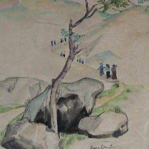 PC 46 cảnh lên núi (Quang Long), mầu nước, 38x26cm, 1966, Nguyễn Sĩ Thiết