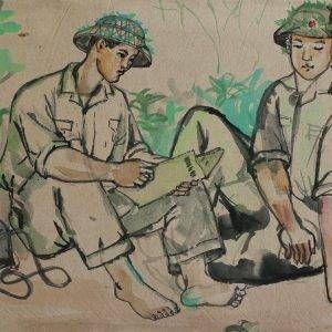 SH 02B cảnh đọc báo, mầu nước, 24×33,5cm, 1964, Nguyễn Sĩ Thiết