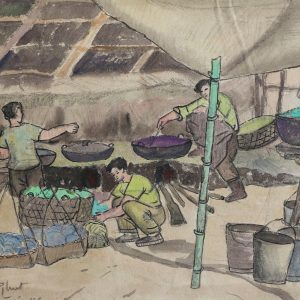 SH 06 cảnh bếp dã chiến, bột mầu, 24×33,5cm, 1966, Nguyễn Sĩ Thiết