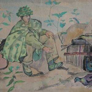SH 17 cảnh lúc nghỉ trưa, mầu nước, 25,5x38cm, 1966 Nguyễn Sĩ Thiết