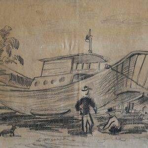SH 26 cảnh đóng tầu, ký họa chì, 18x28cm, 1998, Nguyễn Sĩ Thiết