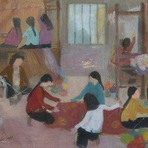 SH 31A cảnh đan len-quay sợi, bột mầu, 33.5×45,5cm, 1961, Nguyễn Sĩ Thiết