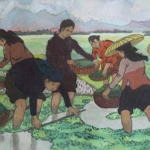 SH 46A cảnh làm bèo hoa dâu, bột mầu, 36,5x52cm, 1963, Nguyễn Sĩ Thiết
