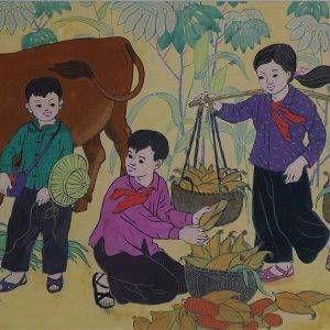 SH 52D cảnh kế hoạch nhỏ, bột mầu, 31x48cm, 1972, Nguyễn Sĩ Thiết (có khung)