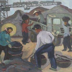 SH 59 cảnh làm than, bột mầu, 29,5×41,5cm, 1964, Nguyễn Sĩ Thiết