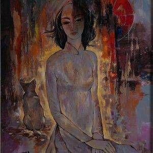 Văn Y, Cô gái và mèo, sơn dầu, 90x70cm, 2017 (2)