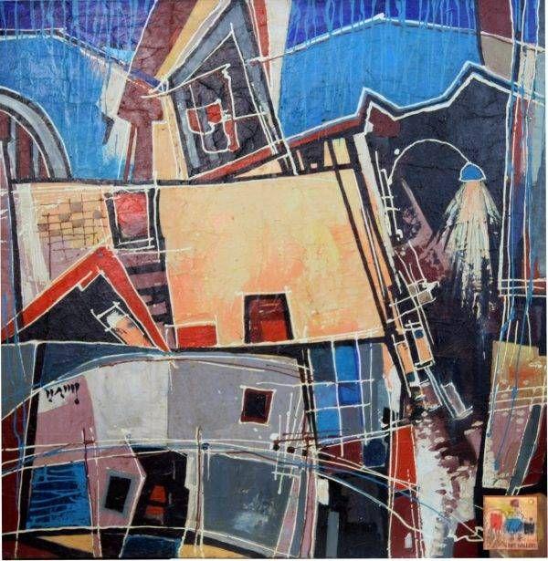 Văn Y, Phố, sơn dầu, 110x110cm, 2015