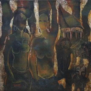Văn Y, thiếu nữ Tây nguyên, sơn mài, 120x120cm