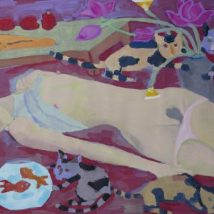 11.Đoàn Hồng, khỏa thân với bình cá vàng, bột mầu, 39x50cm, 2012