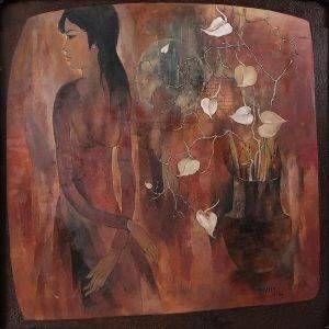 11. Văn Y, Cô gái và bình hoa trắng, sơn dầu, 120×120 cm, 2009