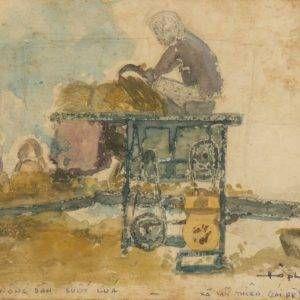 11.Hồ Phòng, nông dân suốt lúa, mầu nước, 14×20, 3-1976