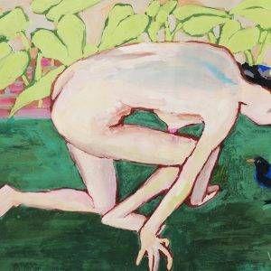 12.Đoàn Hồng, Khỏa thân với chim, bột màu, 39×54 cm, 2019