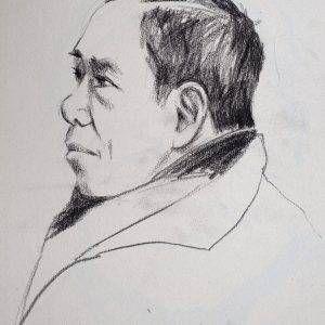 14.Đoàn Hồng, ký họa Trương Văn Thuận, chì than, 40x29cm, 2016