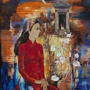 14. Văn Y, Vầng trăng khuyết, sơn dầu, 130×100 cm, 2018
