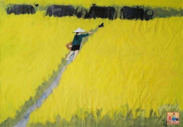16.Đoàn Hồng, Cánh đồng lúa, bột màu, 51×73 cm, 1998