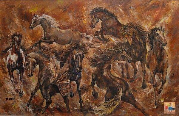 17. Văn Y, Ngựa hoang, sơn dầu, 130×200 cm, 2017
