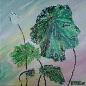 20. Nguyễn Phan Hòa, sen, sơn dầu,75×75 cm, 2007
