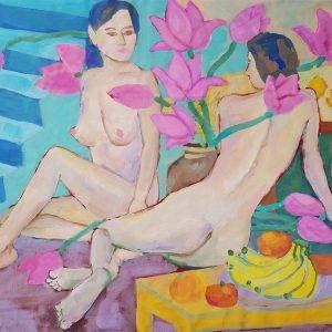21.Đoàn Hồng, Khỏa thân với hoa sen, bột màu, 53×72 cm, 2018