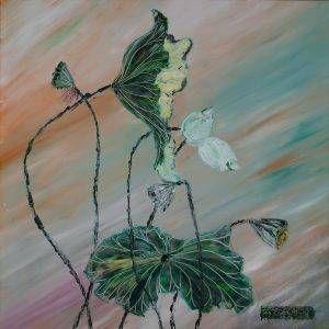 22. Nguyễn Phan Hòa, sen, sơn dầu, 75×75 cm, 2007