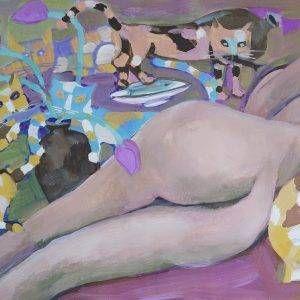 22.Đoàn Hồng, ngủ trưa, bột mầu, 53x78cm, 2011