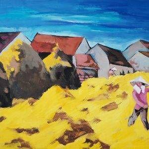 23.Đoàn Hồng, Đánh rơm, bột màu, 54×69 cm, 2003