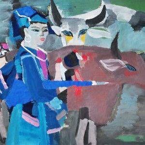 24. Đoàn Hồng, Thiếu nữ dân tộc, bột màu, 54×78 cm, 1996
