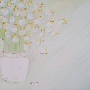 25. Nguyễn Phan Hòa, bình hoa sen, sơn dầu, 100×200 cm,2009