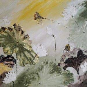 26. Nguyễn Phan Hòa, sen, sơn dầu, 115×155 cm, 2009