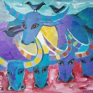 27. Đoàn Hồng, Đàn trâu 1, bột màu, 71x94cm, 2005