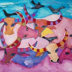 29.Đoàn Hồng, Đàn trâu 2, bột màu, 74x94cm, 2005