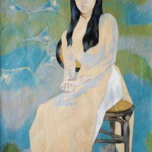 32. Đoàn Hồng, Thiếu nữ áo dài, sơn dầu, 87.5×63 cm, 2001