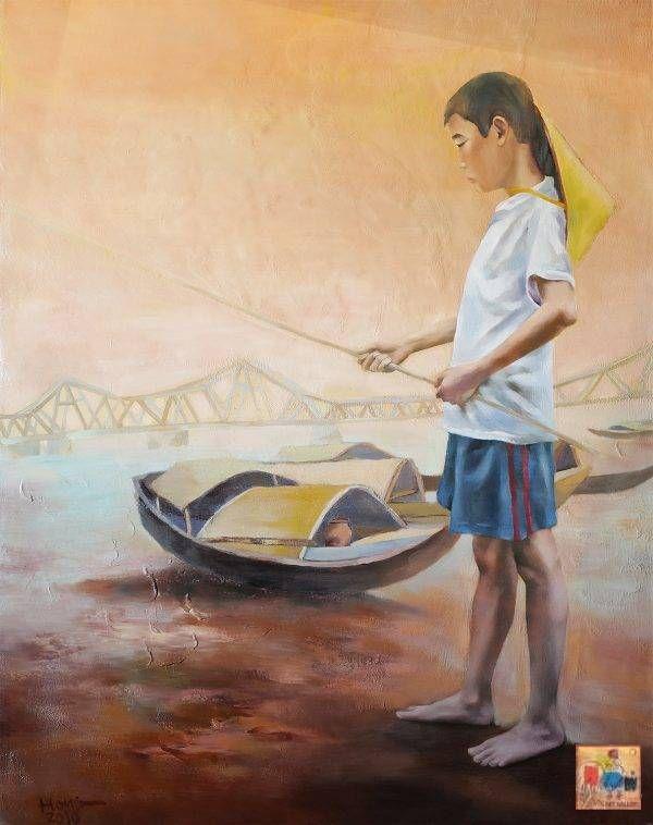 34. Đoàn Hồng, Cậu bé giăng câu, sơn dầu, 99.5×78.5 cm, 2010