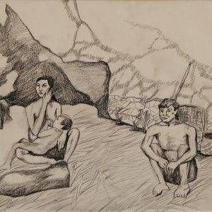 4.Đoàn Hồng, ký họa gia đình người dân tộc, chì than, 29x40cm, 1994