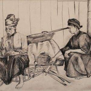 5.Đoàn Hồng, ký họa sinh hoạt của người dân tộc, chì than, 29x40cm