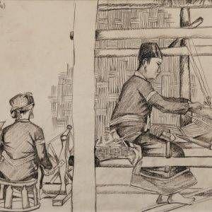 6.Đoàn Hồng, ký họa dệt vải ở Phong Thổ, Lai Châu, chì than, 29x40cm, 1995