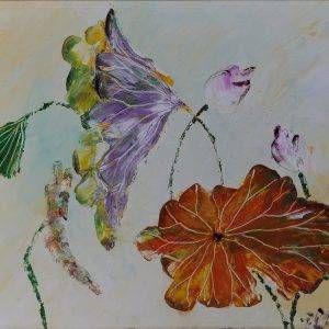 6. Nguyễn Phan Hòa, sen, sơn dầu,30x40cm, 2007