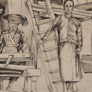 8. Đoàn Hồng, ký họa ở Pa Thẻn, chì than, 29x40cm, 1996