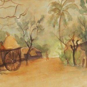 8.Hồ Phòng, phong cảnh Bình Trị Đông, mầu nước, 25×32, 1997