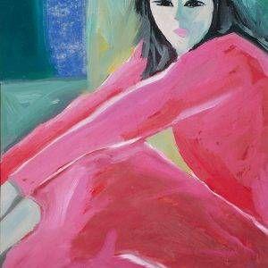 9.Đoàn Hồng, Thiếu nữ, bột màu, 44.5×32 cm, 1995