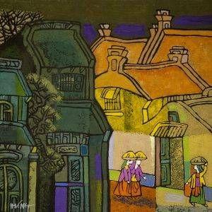 1. Nghiêm Xuân Hưng, Phong cảnh 1, in khắc gỗ, 36×36, 1994